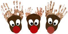 Hand print reindeer  @Tonya Neuman -- another sweatshirt idea!