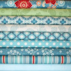 FLUTTER Blue Half Yard Bundle - Riley Blake Designs Cotton Quilting Fabric by Quilted Fish - 9 pcs