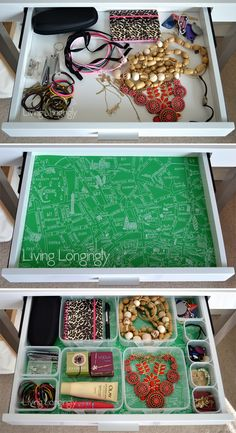 Organising a drawer with wrapping paper and tupperware livinglongingly.com