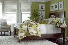 Redin Park Collection - Bassett Furniture This would be the perfect start to my dream room - my bedroom. I love the colours used here; the green is bright and refreshing, yet the white and brown ground the room and make it cozy. Dream Furniture, Bedroom Furniture, Home Bedroom, Bedroom Decor, Bedroom Ideas, Bed Ideas, Master Bedrooms, Decor Ideas, Living Room Designs