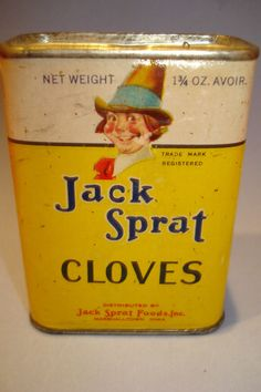 JACK+SPRAT+cloves+spice+cardboard+tin+can+box+advertising+sign+country+store