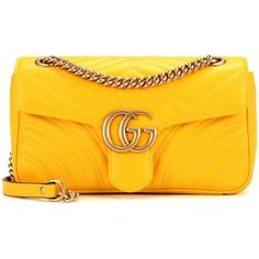 Gucci GG Marmont Matelassé Leather Shoulder Bag (12.550 DKK) ❤ liked on Polyvore featuring bags, handbags, shoulder bags, gucci, yellow, yellow purse, genuine leather shoulder bag, yellow leather shoulder bag, shoulder handbags and yellow leather purse
