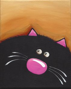 Original acrylic canvas painting whimsical black fat cat art (2) 8 x 10 inches #Modernism
