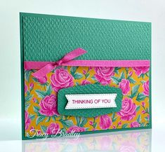 Handmade card featuring Stampin' Up! Flowers For Every Season Designer Series Paper and Tasteful Labels Dies.  I also have a free tutorial for this card!  Created by Tracy Bradley, Independent Stampin' Up! Demonstrator  www.stampingwithtracy.com Owl Punch, Punch Art, Diy Paper, Paper Crafts, Handmade Birthday Cards, Handmade Cards, Stamping Up Cards, Stampin Up Christmas, Heartfelt Creations