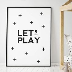'Let's Play' Typographic Print by oso twee, the perfect gift for Explore more unique gifts in our curated marketplace. Lets Play, Play Hard, Handmade Wooden, All Print, Tissue Paper, Backyard Ideas, Kids Bedroom, First Birthdays, Giclee Print