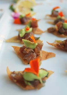 Our Sesame Ahi Poke on Wonton Crisps with Wasabi Avocado Mousse. www ...