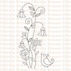 Cute, delicate embroidery pattern. Blue thread for bird, red & yellow flowers, green stem/leaves, purple buds on stems!
