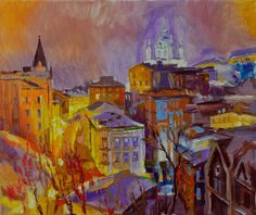 "400 euro. ""Kiev. Descente Andriivsky."" 2016, huile sur toile, 50 x 61 cm."
