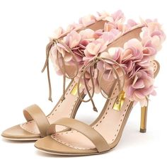 Rupert Sanderson High Heel Ankle Strap Sandals ($1,295) ❤ liked on Polyvore featuring shoes, sandals, heels, heeled sandals, high heel ankle strap shoes, ankle strap heel sandals, ankle strap high heel sandals and ankle tie sandals