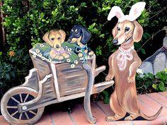WEENIE DOG SLEIGH SET LIFE SIZE EASTER BUNNY SPRING YARD ART REALISTIC DACHSHUND #HANDMADE #dachshund #yardart #weeniedog #lifesize
