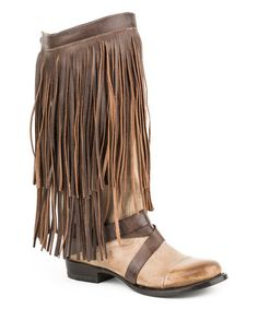 This Brown Fringe Harness Leather Cowboy Boot - Women is perfect! #zulilyfinds