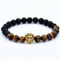 Wish | 2015 black coffee bead buddha bracelets natural stone gold lion bracelet men pulseras hombre bracciali uomo mens bracelets (Size: One Size, Color: Black)