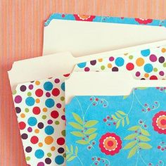 Customize those ugly file folders... Just some scrapbook paper & glue... ~KT  {The Childrens Nest: A couple of fun things to make in a snap!}