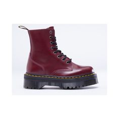 Dr. Martens Jadon Womens ($102) ❤ liked on Polyvore featuring shoes, boots, ankle booties, cherry red rouge, metallic boots, metallic booties, platform booties, military style boots and dr martens boots