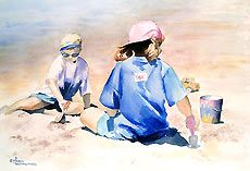 Maud Durland Watercolors, people paintings
