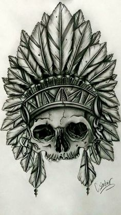 Native American Indian skull with feather head by FracturedJunk