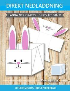 Gratis utskrivbara Vit påskkorg (box) med söt påskhare