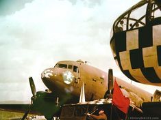 A 12th Air Force Douglas C-47 air evacuation plane at an airfield in Northern Italy.