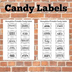 Candy Store Labels | Harry Potter Party: Florean Fortescue's Ice Cream Parlor, Honeydukes ...