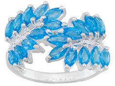 1.28ctw Marquise Neon Apatite With .01ctw Round White Topaz Sterling Silver Ring