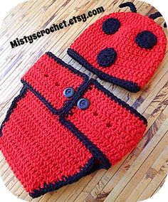 Lady Bug Baby Beanie and Diaper Cover by Mistyscrochet on Etsy