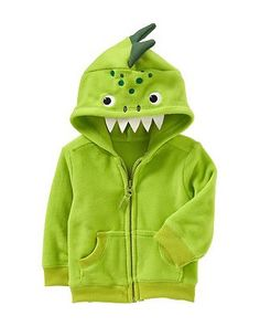 "Zip this adorable critter hoodie on your child if the October chill begins to ""bite"" on Halloween night. Click above to buy one, also available in a monkey style."