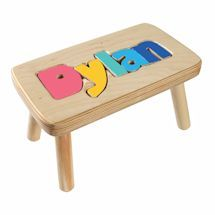 Personalized Children's Wooden Puzzle Stool - Letters at Signals Wooden Puzzles, Wooden Toys, 3d Puzzles, Spelling Games For Kids, Personalised Jigsaw Puzzle, Crate Seats, Name Puzzle, Personalized Gifts For Kids, Baby 1st Birthday