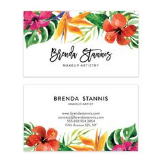 Tropical Watercolor Flowers Business Card Design  by VisualPixie