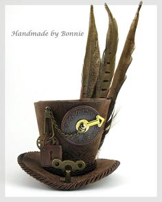 Steampunk Mini Top Hat   brown with feathers by BonnieMadeDesigns, $80.00