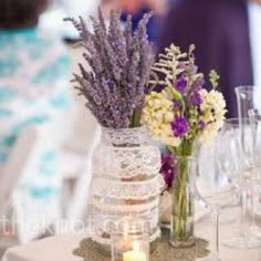 country chic lavender centerpiece jar with an easy  DIY lace wraping