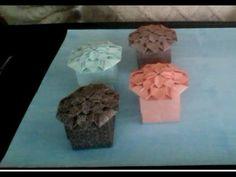 Origami Hydrangea Muffin Box - YouTube