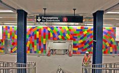 Arts for Transit, New York subway system  Columbus Circle Station  Sol le Witt mural