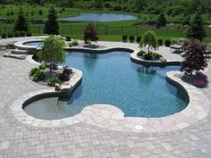 Unique Pool Shape Inground Swimming Pools With Stone Coping and Paver Deck