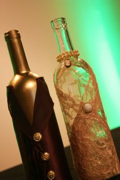 Wine bottles turned anniversary gifts