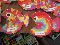 rainbow fish - so fun! read the book about the rainbow fish and then they get to make their own!