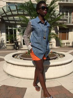 Silk and Denim Button Down and orange shorts to welcome the hot weather.