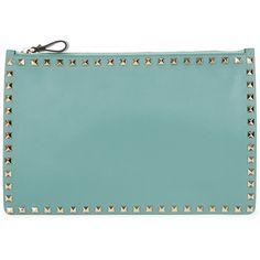 Valentino Rockstud large aqua leather pouch ($540) ❤ liked on Polyvore featuring bags, handbags, clutches, leather clutches, studded leather handbags, valentino purses, green leather purse and leather purses