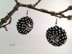 Excited to share the latest addition to my #etsy shop: Black crochet half ball earrings with white seed beads and bead cups https://etsy.me/2s34lHr #jewelry #earrings #black #earwire #polyester #no #girls #white #earlobe