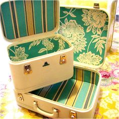 Painted  amp  Relined scrapbook suitcase Painted Suitcase 4738d3b538d4b