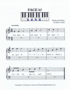 Learn the treble clef spaces by playing this fun piano song, FACE it! From Piano Song Download.