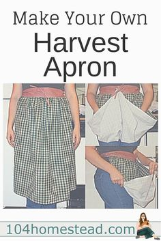 A harvest apron is great for gathering produce from your garden. I'll show you how to make one with simple sewing skills. Add pockets to collect eggs. Sewing Hacks, Sewing Tutorials, Sewing Crafts, Sewing Tips, Sewing Basics, Sewing Ideas, Basic Sewing, Dress Tutorials, Sewing Aprons