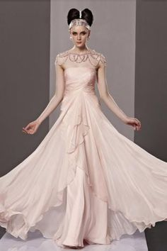 Pearl Pink Strapless Ruched Empire Trumpet Long Chiffon Prom Dress