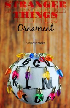 Make this DIY Stranger Things ornament to show your enthusiasm for Stranger Things on Netflix. Easy to make Stranger Things Christmas ornament gift idea! Funny Ornaments, Diy Christmas Ornaments, Homemade Christmas, Diy Christmas Gifts, Simple Christmas, Christmas Bulbs, Christmas Decorations, Beaded Ornaments, Glass Ornaments