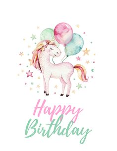 These unicorn party free printables are so cute. They are watercolor prints that are perfect for a picture gallery or to frame at your kids party. Unicorn Birthday Cards, Unicorn Birthday Invitations, Birthday Invitations Kids, Happy Birthday Greetings, Birthday Wishes, Birthday Images, Birthday Quotes, Watercolor Unicorn, Watercolor Art