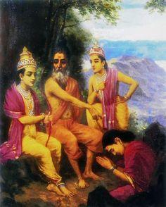 Reprints of Raja Ravi Varma Paintings: Rama Releasing Ahalya from Curse in the Presence of Vishwamitra and Lakshmana