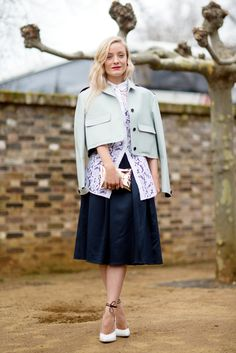 5 Looks For A Modern-Day Lady #refinery29  http://www.refinery29.com/ladylike#slide1  Wearing a boxy jacket thrown cape-style over your shoulders is a quick way to give a pretty outfit a little more glamour.