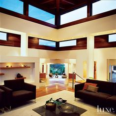 Modern White Living Room Clerestory Windows   LuxeSource   Luxe Magazine - The Luxury Home Redefined