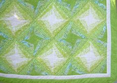 Twin Quilt with Lime Green Stars by sewingmaniac on Etsy, $160.00