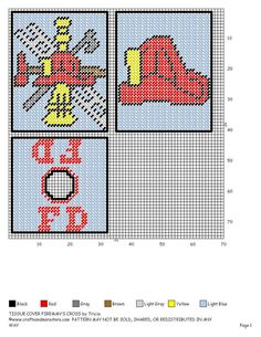 Fire department x-stitch Plastic Canvas Coasters, Plastic Canvas Ornaments, Plastic Canvas Tissue Boxes, Plastic Canvas Crafts, Plastic Canvas Patterns, Needlepoint Patterns, Cross Stitch Patterns, Fireman Crafts, Tissue Box Covers