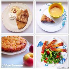 Комплекс 2 Завтрак: блинчики из цельнозерновой муки, творожный мусс  Обед: гороховый суп, пирог с творогом и шпинатом Полдник: яблочный тарт-татен Ужин: овощной салат и куриный шницель